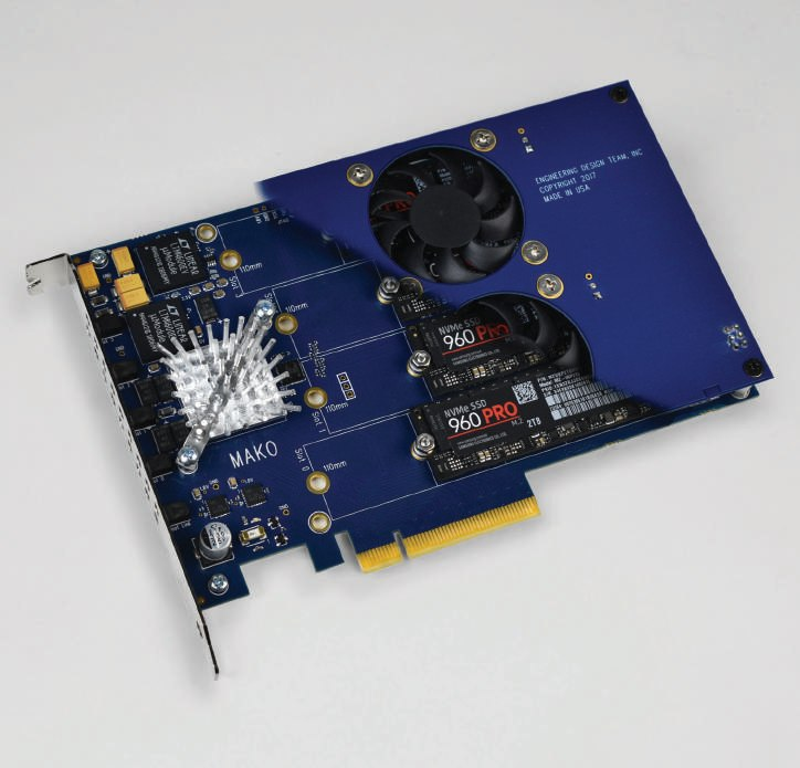 EDT Mako NVMe PCIe RAID carrier board   8 TB of SSD storage   IO at