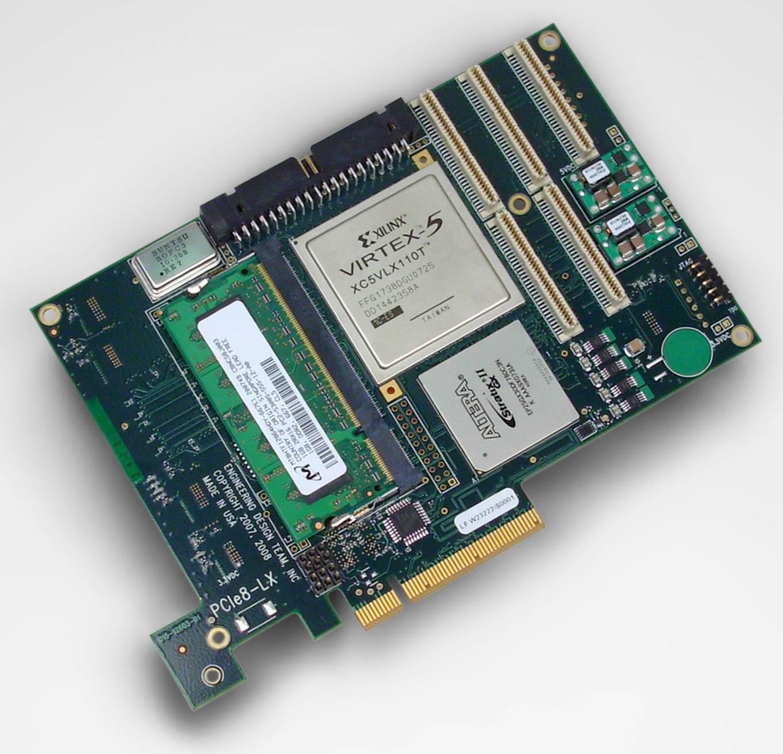 EDT PCIe8 LX – Xilinx Virtex 5 LXT DMA FPGA card, 8 MB SRAM