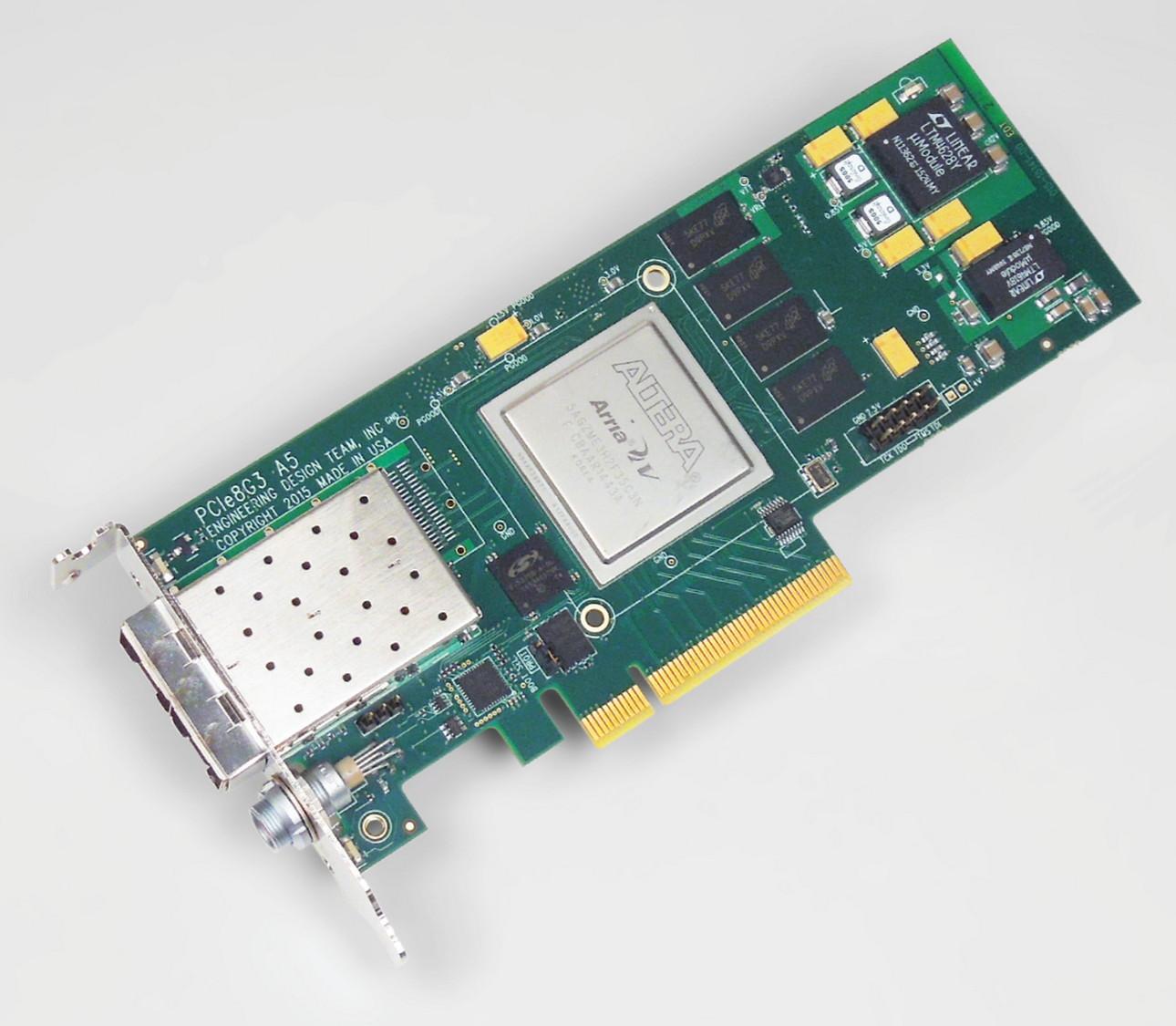 EDT PCIe8g3 A5-10G – Altera Arria V FPGA  Two 10G SFP/+, 1 – 10 GbE
