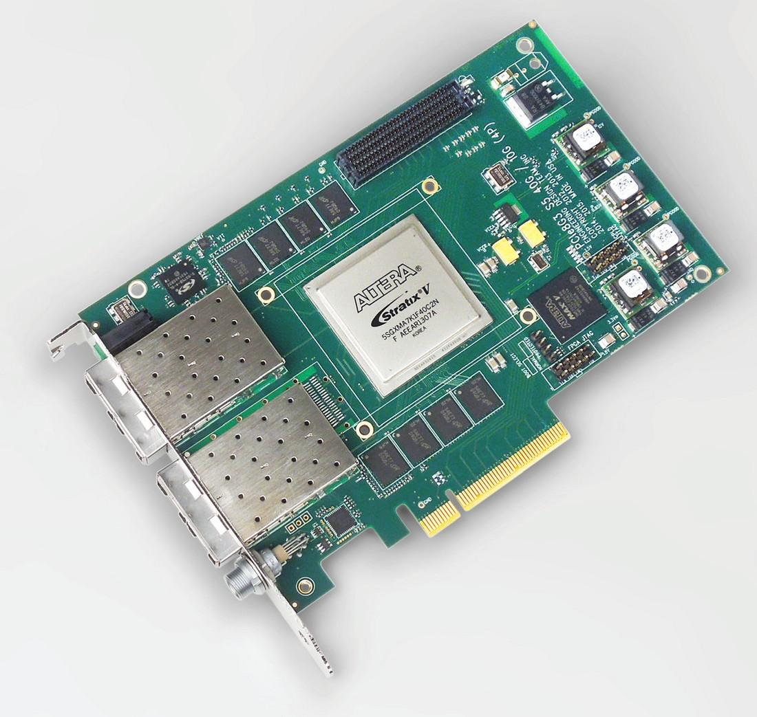 EDT PCIe8g3 S5-10G – Altera Stratix V FPGA, up to four 10G SFP/+s