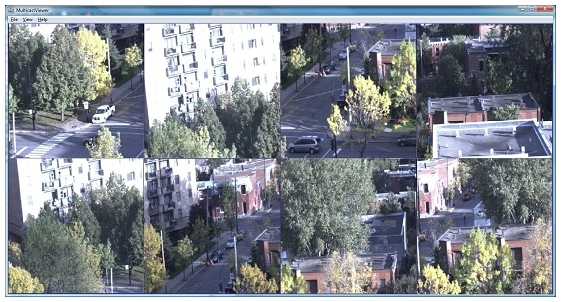 NorPix MulticastViewer Fenstermodus mit 4 Videoquellen.
